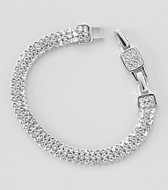 Swarovski® Silvertone/Rhodium Clear Crystal Mesh Narrow Bracelet