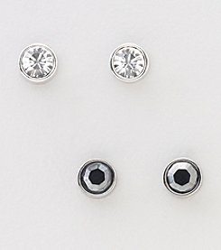 Swarovski® Silvertone/Rhodium Clear Crystal & Harley Jet Hematite 2 Pr. Pierced Earrings Set