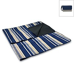 Picnic Time® Navy and Blue Stripes Blanket Tote