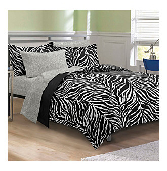 My Room® Zebra Black and White Comforter Set