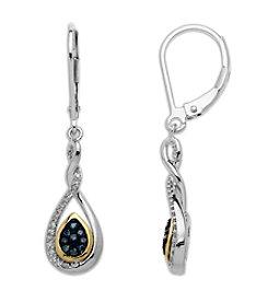 Green & White Diamond Teardrop Earrings in Sterling Silver/14K Yellow Gold