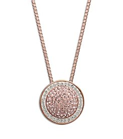 Impressions® Rose and White Crystal Pendant in Sterling Silver