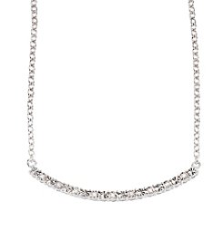 0.03 ct. t.w. Diamond Curved Bar Link Necklace in Sterling Silver