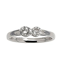 Diamond Accent Mini Infinity Design Ring in Sterling Silver