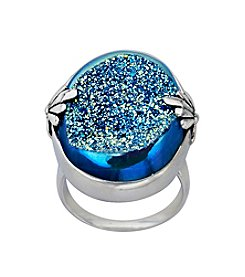 Blue Drusy Quartz Ring in Sterling Silver