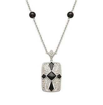 Onyx & 0.05 ct. t.w. Diamond Vintage Pendant in Sterling Silver plus size,  plus size fashion plus size appare