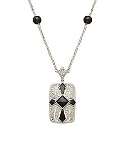 Onyx & 0.05 ct. t.w. Diamond Vintage Pendant in Sterling Silver
