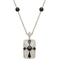 Onyx & 0.05 ct. t.w. Diamond Vintage Pendant in Sterling Silver