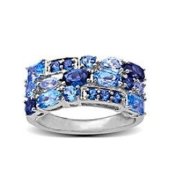 Multi Shade Blue Topaz Ring in Sterling Silver
