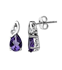 Amethyst and White Topaz Earrings in Sterling Silver