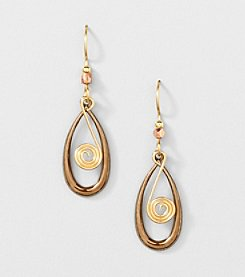 Silver Forest® Mixed Metal Elongated Teardrop with Coil Earrings