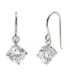 Sterling Silver Drop Cubic Zirconia Earrings