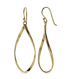 Gold Plated Sterling Silver Twisted Oval Drop Earrings