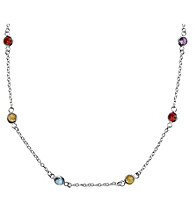 "Sterling Silver 20"" Multi Color Cubic Zirconia Bezel Station Necklace"