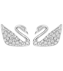 Swarovski® Rhodium/Silvertone Clear Crystal Swan Pierced Earrings