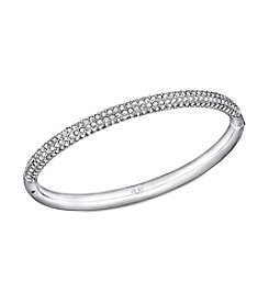 Swarovski® Stainless Steel/Silvertone/Mini Clear Crystal Stone Mini Bangle