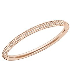 Swarovski® Stainless Steel/Rose Goldtone/Clear Crystal Stone Mini Bangle