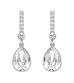 Swarovski® Rhodium/Silvertone/Rose & Clear Crystal Attention Pierced Earrings