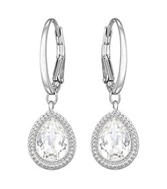 Swarovski® Rhodium/Silvertone/Silver Night Crystal Anessa Pierced Hoop Earrings