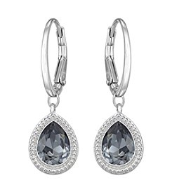 Swarovski® Rhodium/Silvertone/Silver Night Crystal Anessa Pierced Earrings