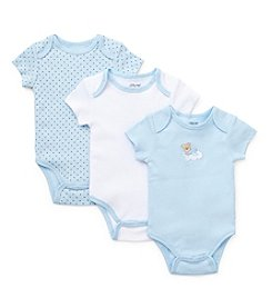 Little Me® Baby Boys' Blue Three-Pack Sleepy Bear Bodysuits