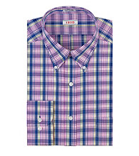 Izod® Men's Forest Berry Long Sleeve Plaid Dress Shirt