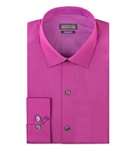 Kenneth Cole REACTION® Men's Magenta Long Sleeve Slim-Fit Chambray Dress Shirt