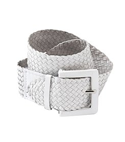 Nine West® White Goat Braid Belt