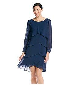 S.L. Fashions® Long Sleeve Shear Shutter Dress