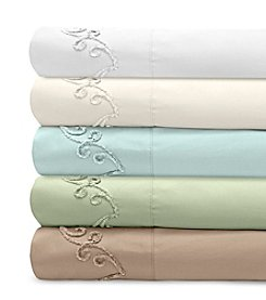 Veratex® Supreme Sateen Chenille Scroll Embroidered 300-Thread Count Sheet Set