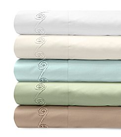 Veratex® Supreme Sateen Chenille Swirl Embroidered 300-Thread Count  Sheet Set