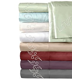 Veratex® Supreme Sateen Chenille Scroll Embroidered 500-Thread Count Sheet Set