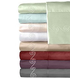 Veratex® Supreme Sateen Chenille Swirl Embroidered 500-Thread Count Sheet Set