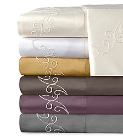 Veratex® Supreme Sateen Chenille Scroll Embroidered 800-Thread Count Sheet Set