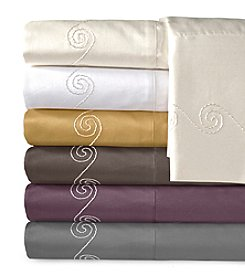 Veratex® Supreme Sateen Chenille Swirl Embroidered 800-Thread Count  Sheet Set