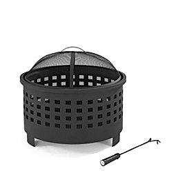 Crosley Furniture Hudson Basket Weave Black Firepit