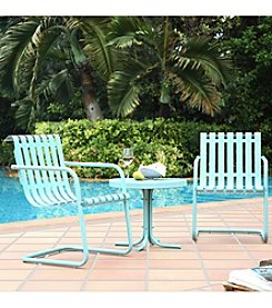 Crosley Furniture Gracie 3-pc. Metal Outdoor Carribean Blue Conversation Seating Set
