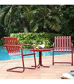 Crosley Furniture Gracie 3-pc. Metal Outdoor Coral Red Conversation Seating Set