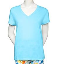 HUE® Classic Knit V-Neck Top - Blue Atoll