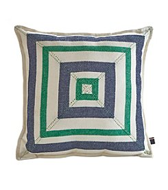 Tommy Hilfiger® Pierced Liberty Stripe Navy and Green Pillow