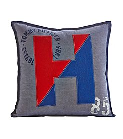 Tommy Hilfiger® Blue and Red Applique Logo Pillow