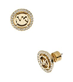 Michael Kors® Goldtone MK Stud Earrings with Clear Pavé