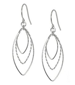 Athra Sterling Silver Open Ovals Drop Earrings