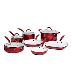 Bella 11-pc. Red Ceramic Cookware Set