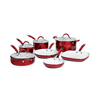 Bella 11-Piece Red Ceramic Cookware Set (Red)