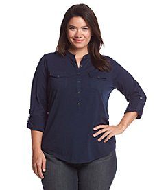 Relativity® Plus Size Solid Roll Tab Sleeve Henley