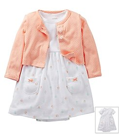 Carter's® Baby Girls' White/Peach 2-pc. Dot Print Dres Set