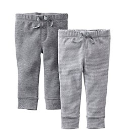 Carter's® Baby Boys' Heather / Solid Grey Two-Pack Pull-On Pants *