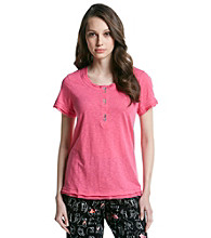 HUE® Knit Henley Top - Fandango Pink