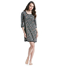 HUE® Knit Henley Sleepshirt - Black Flower Chain